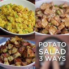 3 of 4 delicious ways to make everyone's favorite side - potato salad. Click through to find the 4th!