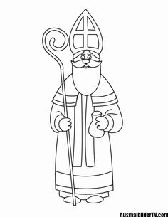 Saint Nicholas Kindergarten New Years Free Coloring Sheets, Free Printable Coloring Pages, Colouring Pages, Coloring Pages For Kids, St Nicholas Day, How To Start Knitting, Catholic Saints, Primitive Crafts, Primitive Christmas