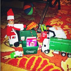 Recycling and garbage trucks