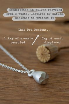 Breathing new life into old electronics, this Pod Pendant was crafted in silver recycled from circuit boards. Only about 15% of the electronic waste produced worldwide is recycled. Recycling the silver and gold from electronic waste not only produces beautiful eco-friendly jewelry but also decreases the need for harmful mining operations. #ewaste #sustainability #ethicalfashion