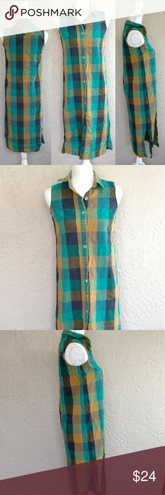 "Teddi Petites sleeveless plaid maxi dress Teddi Petites long button down shirt or maxi dress, pretty blue and turquoise and mustard yellow plaid. be In excellent used condition. be Wear as a dress, add a belt, or leave open and layer as a long vest.  Size petite small: 34"" bust, 43"" length with a 10 1/2"" slit on each side Teddi Dresses Maxi"