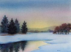 FARM POND watercolor landscape painting, original painting by artist Barbara Fox | DailyPainters.com