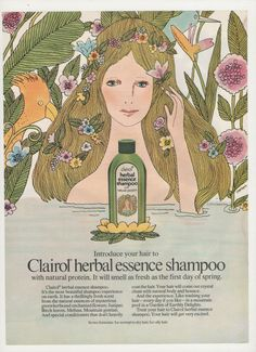 1972 Herbal Essence Shampoo Illustrated Advertisement by fromjanet, $7.00