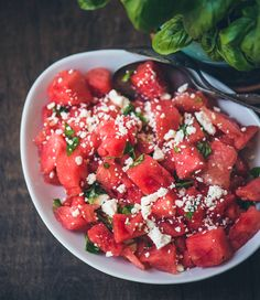 Watermelon, Basil and Feta Salad | Food Fitness Fresh Air Watermelon Feta Basil Salad, Watermellon Salad, Watermelon Salad Recipes, Fruit Salad, Summer Salads, Easy Salads, Healthy Salads, Savory Salads, Healthy Dishes