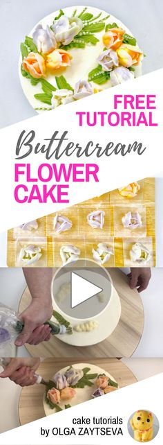 HOT CAKE TRENDS How to make Tulips buttercream flower wreath cake - Cake decorating tutorial by Olga Zaytseva. Learn how to pipe tulips and create this fresh and spring buttercream flower wreath cake.