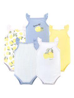 Hudson Baby Blue & Yellow 'Squeeze Me' Lemon Sleeveless Bodysuit Set - Newborn & Infant Baby Boy Or Girl, Baby Love, Baby Kids, Toddler Girls, Teen Boys, Baby Monogram, Baby Shower Gifts, Cute Babies, Girl Clothing