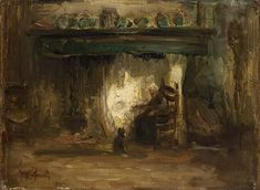 Jozef Israëls - A PEASANT WOMAN IN AN INTERIOR; Medium: oil on canvas; oil on canvas laid down on board