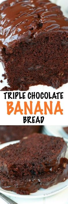 If you like chocolate, you're definitely going to LOVE this Triple Chocolate Banana Bread! With a triple load of chocolate, it's deliciously decadent and easy to make!