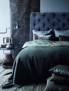 Established in Rue Verte is a high-end interior design shop in Copenhagen. Located in a 250 year year old building, it is describ. Bedroom Inspo, Bedroom Decor, Design Bedroom, Boutique Hotel Bedroom, Cozy Small Bedrooms, Monochromatic Room, Rue Verte, Blue Bedroom, Men Bedroom