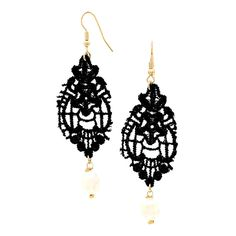 Checkout our #arrascreations product Vintage Gothic Crochet Lace & Pearl Earrings / AZERLC953-GBP. Buy now at http://www.arrascreations.com/vintage-gothic-crochet-lace-and-pearl-earrings-azerlc953-gbp.html