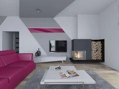 Nowoczesny salon z akcentem w postaci różowej kanapy. Dodatkowo we wnętrzu znajduje się kominek.