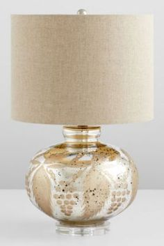 """Sandalwood Table Lamp from Soft Surroundings~With a touch of elegance, this lamp is given the feel of a true antique with a mercury glass base, etched with a stylized grape and leaf pattern. The simple linen shade adds a charming contrast to the elaborate base. Imported. 15""""W x 15""""D x 24""""H. UL Approved. Light assembly required (harp and finial included).   $349.95"""