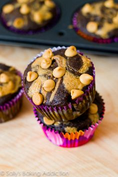 Skinny Chocolate Peanut Butter Swirl Cupcakes! No butter or oil, made with whole wheat flour, greek yogurt, & creamy peanut butter.