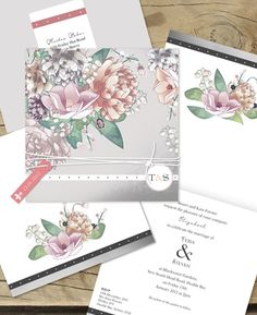 Botanical burst wedding invitation, lilykiss