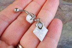 White Opal Belly Button Jewelry Ring with White Opal Diamond Dangle
