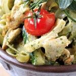 Pesto Pasta Salad Why's it's a flat belly food: Pesto, a rich green sauce made of garlic, basil, nuts, oil, and cheese, is delicious and a natural waist whittler. Nuts and oils are rich sources of MUFAs, so this savory side dish is a healthy way to get a pasta fix, especially when it's made with whole wheat pasta and tons of veggies. Steer clear of pasta salad made with creamy, white sauces. These typically contain mayonnaise, which packs in 90 calories and 10 g of fat per serving!