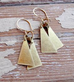 Brass Triangle Drop Earrings by Tangleweeds on Scoutmob Shoppe