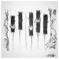 Piano River by AlbertoArni on DeviantArt Piano Art, Piano Music, Music Drawings, Art Drawings, Music Jokes, Drawn Art, Note Tattoo, Illustration Art, Illustrations
