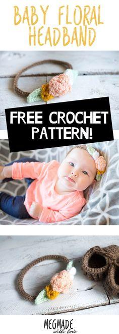 Floral Baby Headband Crochet Pattern — Megmade with Love Crochet Gratis, Crochet Amigurumi Free Patterns, Free Crochet, Crochet Ideas, Knitting Patterns, Free Knitting, Crochet Projects, Crochet Flower Hat, Crochet Headband Pattern