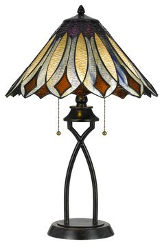 Features:  -Tiffany collection.  -Number of lights: 2.  -Finish: Dark bronze.  -Durable metal construction.  -Shade included with lamp.  -On/off switch.  Fixture Finish: -Dark bronze.  Fixture Materia                                                                                                                                                      More