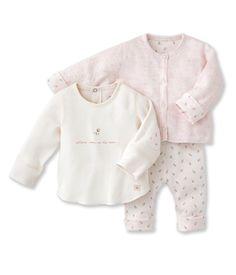 Petit Bateau Baby-Girls Newborn 3 Piece Top Cardigan and Floral Print Pant Set, Pink, 3 Months