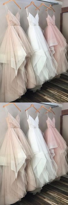 Spaghetti Chic Tulle Floor Length Prom Dresses Evening Dresses PG518 #dressesprom