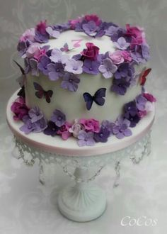 Pretty Flowers And Butterflies Cake By Lynette Brandl - (cakesdecor) Purple Butterfly Cake, Butterfly Birthday Cakes, 1st Birthday Cakes, Birthday Cakes For Women, Butterfly Cakes, Birthday Cake With Flowers, Violet Cakes, Purple Cakes, Pretty Cakes