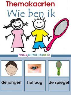 """Woordkaarten """"wie ben ik"""" www.peuteractiviteitenweb.nl"""