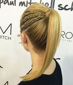 Straight Triple Threat, triple side braid into pony hairstyle