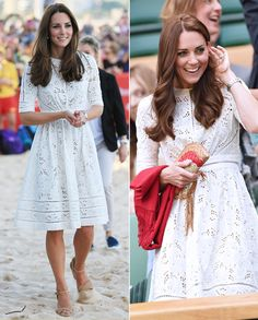 """July 2, 2014 (right) - What did Kate Middleton wear for a day of watching tennis? A springy, white eyelet Zimmermann frock. The Duchess of Cambridge stepped out to enjoy a day of sporting at the Wimbledon Championships in London with Prince William and wore a perfectly appropriate ensemble (right). Her festive """"Roamer Day Dress"""" by the Australian label first made its debut on the royal family's trip down under for a day of outdoor engagements with Prince William (left)."""