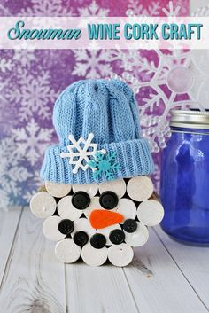 CLICK NOW for great Christmas ideas and Christmas crafts including this DIY snowman wine cork Christmas decor tutorial.  #SnowmanCrafts #ChristmasCrafts #WineCorks