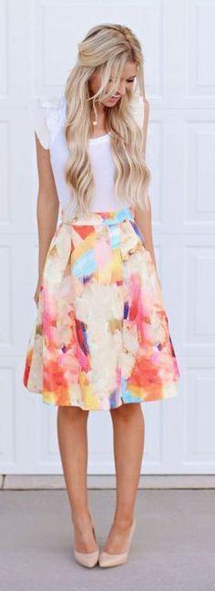 #summer #fashion / white t-shirt + floral print skirt