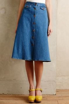 MiH Button-Front Denim Skirt Tinted Denim Skirts #anthrofave