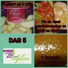 dag 5 Diet Recipes, Snack Recipes, Healthy Recipes, Snacks, Diet Meals, Recipies, 28 Dae Dieet, Dieet Plan, Day Plan