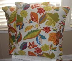 "Throw Pillow Covers Multi Colored Flowers and Leaves Solarium Outdoor Canvas Set of 2 20""x20"" 20x20 Red Orange Blue Green Tan Mustard Yellow"
