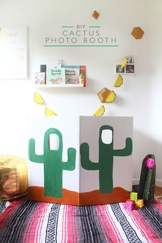 This DIY cactus photo booth is the perfect addition to your cinco de mayo party! All you need is a cardboard box, exacto knife and paint!