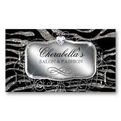 Fashion Gift Card Nail Salon Zebra Glitter Silver Business Card