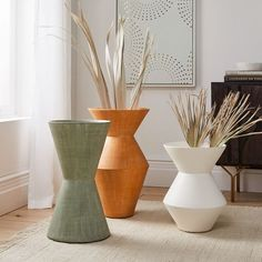 Rustic Ceramics, White Ceramics, Modern Ceramics, Tall Floor Vases, Tall Vases, Painted Vases, Hand Painted, Metal Vase, Pottery Barn Teen