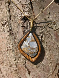 Freeform Pendant  - Stone Pendant - Wood Pendant - Designer Pendant - Wood & Stone. $42.00, via Etsy.
