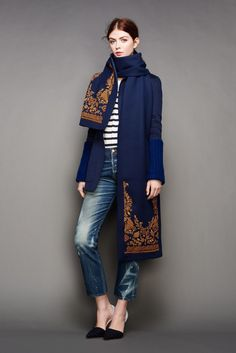 30 Little Style Lessons To Learn From J.Crew #refinery29  http://www.refinery29.com/2015/02/82440/jcrew-fall-ny-fashion-week-2015#slide-24  A major scarf with beautiful embroidering can take a simple shirt-and-jeans look somewhere amazing.
