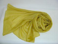 Seidenschal 180x45cm messing gold Pongee Schal  von Textilkreativhof auf DaWanda.com