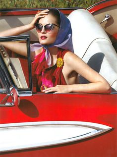 """May's Best Fashion """"Ah-Ha!"""" Moment...After years of watching movie heroines lose their scarves to a gust of wind, women have realized you can't actually drive a convertible in a scarf."""