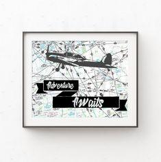 Adventure Awaits Map Print, Airplane Decor, Aviation Map Art Wall Decor, Gift for Pilots, Travel the Travel Theme Nursery, Nursery Themes, Nursery Decor, Airplane Decor, Personalized Graduation Gifts, Pilot Gifts, Name Art, Frame Display, Travel Themes