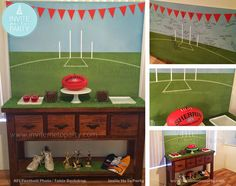 AFL   Footy Party Table Backdrop or Photobooth Backdrop Invite Me To Party: Footy - Aussie Rules Themed Birthday Invitation and Party Printables