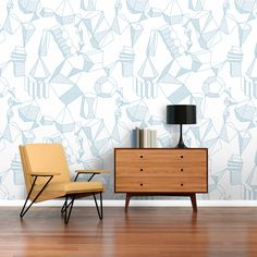 Papel pintado Marrak. Elements, azul. Ambiente Cabinet, Storage, Furniture, Home Decor, Wall Papers, House Decorations, Blue Nails, Paper Envelopes, Green