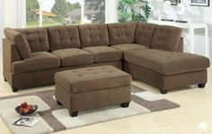 Burbank Truffle Waffle Suede High Back Sectional Sofa at GoWFB.ca | Urban Cali | Free Shipping - Burbank Truffle Waffle Suede High Back Sect...