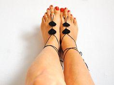 Black hearts  Beach Wedding Sandals Crochet Barefoot by Kreacje