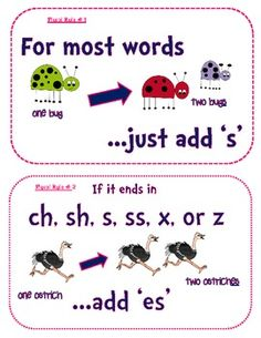 Here are some friendly little reminder posters to hang for your students to recognize the various rules. I have five mini-posters total: 1. For most words, just add 's' 2. If it ends in ch, sh, s, ss, x, or z, add 'es' 3. Change the 'y' to 'ies' 4.