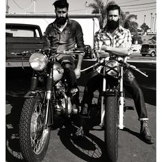 two full thick black beards on motorcycles beard bearded man men mens' style biker bikers motorcycle boots riding #beardsonwheels #beardsforever