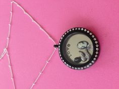Origami Owl Large Black Crystal Locket Cameo Angel Wings www.owllockets.com
